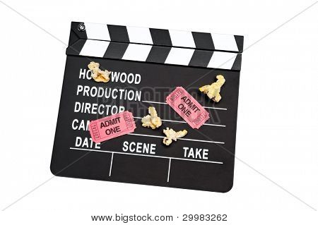 A film slate with movie tickets and popcorn on white
