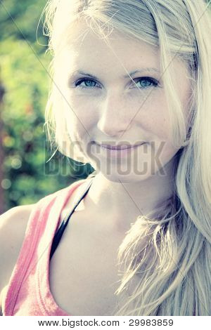 Beautiful Woman In Sunny Summer Day