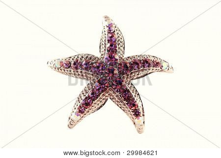 Vintage gold pendant, coulomb star isolated on white background