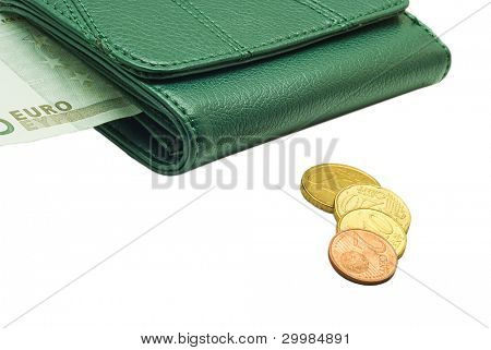 Green Leather purse and coins Cent