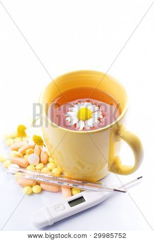 Tea with Chamomile thermometer and pills