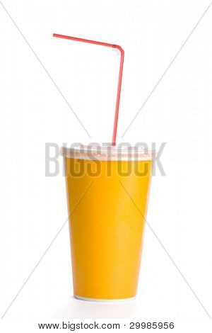 Orange plastic cup with  straw on white background