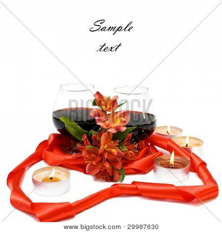 Two glasses of red wine combined with ribbon and flower(With sample text)