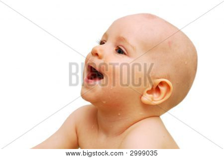 Portrait Of Smiling Baby, Close-Up, Isolated On White