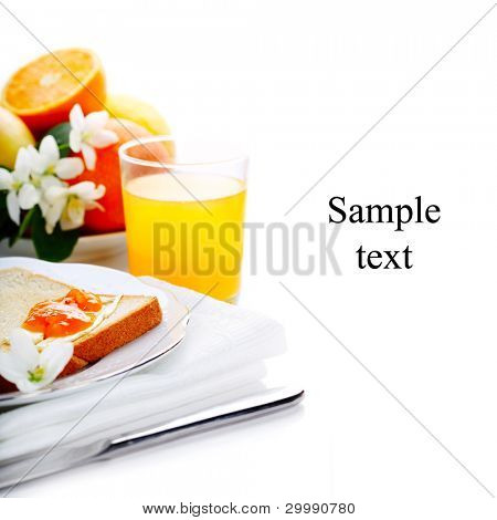 breakfast with toast, jam and juice on white isolated background(With sample text)