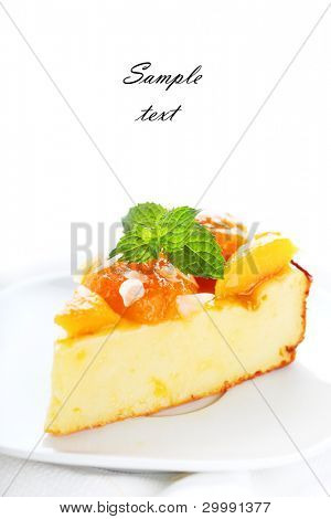 Cottage cheese and apricot cake on white isolated background