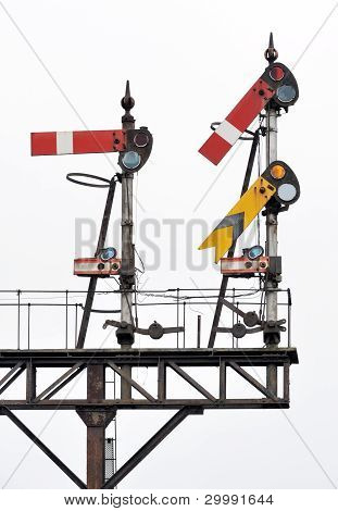 Old english semaphore railway signals on gantry