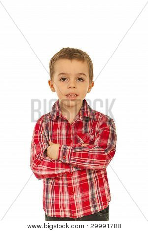 Kid Boy With Hands Crossed