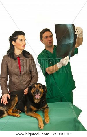 Owner With Dog And  Radiologist Vet