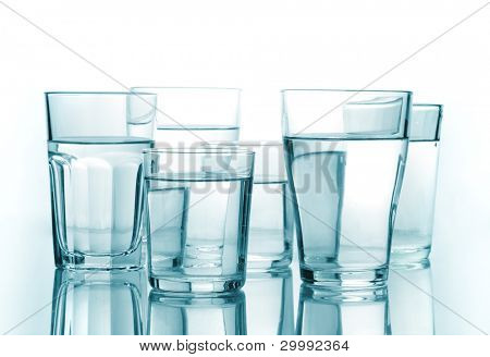 glass of water on a white isolated background