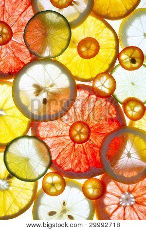Rebanada de fondo de frutas cítricas