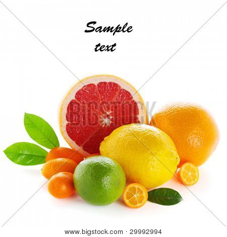 Citrus fresh fruit isolated on a white background (with sample text)
