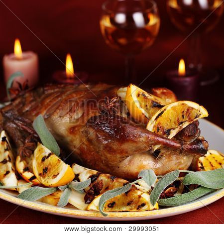 Roast duck with orange, anise and ginger