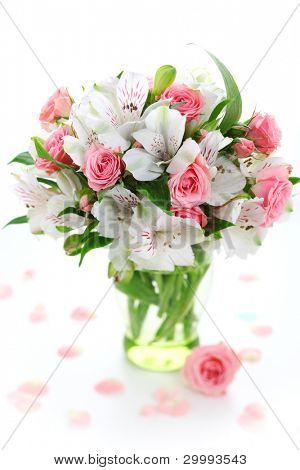 Beautiful bouquet alstroemeria and rose on white isolated background