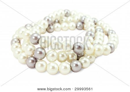 Beads Of White And Black Pearls