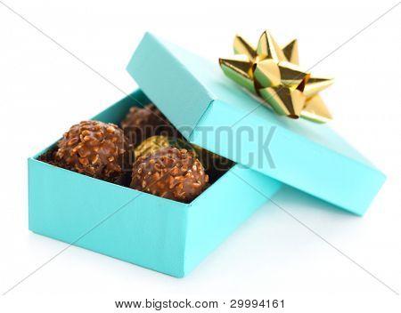 chocolate truffle on white isolated background