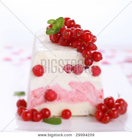 Ice cream parfait with redcurrants