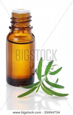 bottle of aromatic essence oil and fresh rosemary on white isolated background