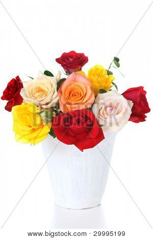 Bouquet of fresh roses in vase on white isolated background
