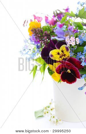 Vase of summer flowers white isolated background