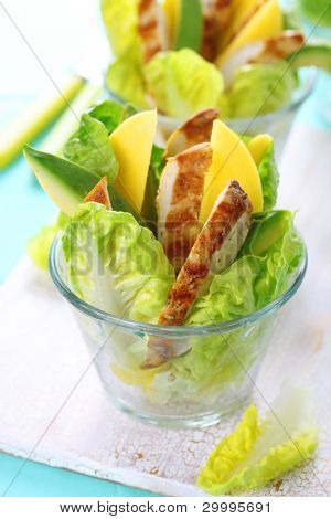 Grilled chicken salad with avocado and mango.