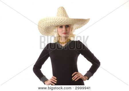 Young Womans Face Peeping Out From Under Hat