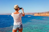 Tourist Woman On Sunny Resort Beach At The Coast Of Red Sea In Sharm El Sheikh, Sinai, Egypt, Asia I poster