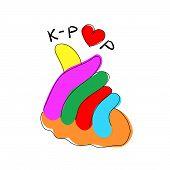 Korean Pop Music K-pop Love Sign Hand Gesture .vector Flat Modern Beauty Style Illustration Icon Des poster
