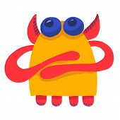 Cute Adorable Monster. Cute Cartoon Monster. Fantasy Cartoon Collection With Yellow Cute Adorable Mo poster
