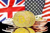 Bitcoins On The Background Of The Flag United Kingdom And United States Of America. Concept For Inve poster