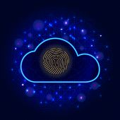 Cyber Security Concept. Cloud Cyber Data Protection With Biometric Fingerprint Scanner Icon On Abstr poster