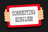 Word Writing Text Connecting Singles. Business Concept For Online Dating Site For Singles With No Hi poster