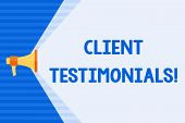 Conceptual Hand Writing Showing Client Testimonials. Business Photo Text Written Recommendation From poster