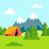 Green Glade, Open Air Camping Vector Illustration. Mountains Scenery With Forest. Tent Camp. Trekkin poster