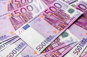 500 Euro Money Bills Background. Five Hundred Notes Of European Union Currency. Stack Of Euro Money  poster