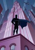 image of mantle  - Superhero watching over the city. 