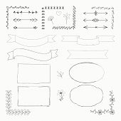 Vector Illustration With Hand Drawn Doodle Elements: Frames, Borders, Tapes, Arrows, Flowers Isolate poster