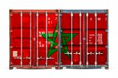 The Concept Of Morocco  Export-import And National Delivery Of Goods. Close-up Of The Container With poster
