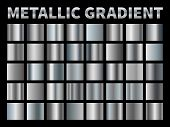 Metallic Gradients. Silver Foil, Grey Shiny Metal Gradient Border Ribbon Square Frame, Aluminum Shin poster
