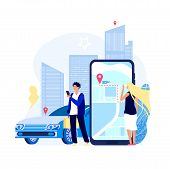 Renting Cars Concept. Car Rent App Carshare Transport Payment With Smartphone Auto Driver Sharing Ta poster