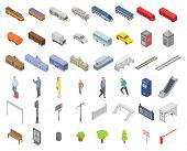 Railway Station Icons Set. Isometric Set Of Railway Station Vector Icons For Web Design Isolated On  poster