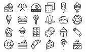Confectionery Icons Set. Outline Set Of Confectionery Vector Icons For Web Design Isolated On White  poster