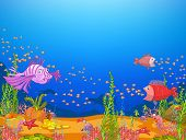 Ocean Underwater World Cartoon. Coral Reef with Alga and Fish. Vector.