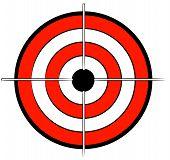 stock photo of bullseye  - red white and black bullseye target with crosshair - JPG