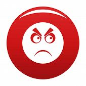 Angry Smile Icon. Simple Illustration Of Angry Smile Icon Isolated On White Background poster