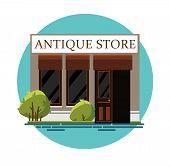 Antique Store. Antique Shop. Retro Store. Store Facade. Facade Of An Antique Shop. Illustration Of A poster