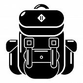 Backpack Tourism Icon. Simple Illustration Of Backpack Tourism Icon For Web poster