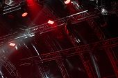 Colorful Concert Lighting. Red Lanterns And Spotlights At A Concert. Rays Of Light From Concert Ligh poster