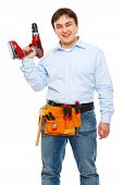Smiling Construction Worker With Electric Screwdriver