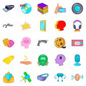 Video Game Icons Set. Cartoon Set Of 25 Video Game Icons For Web Isolated On White Background poster